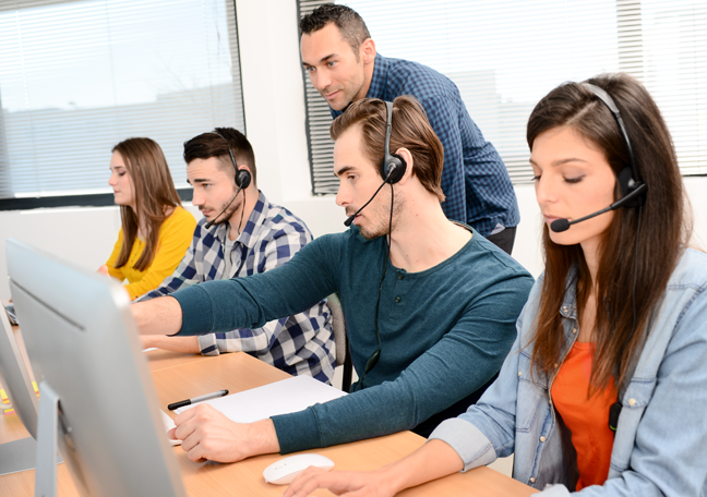 young group call center reps managed by team leader