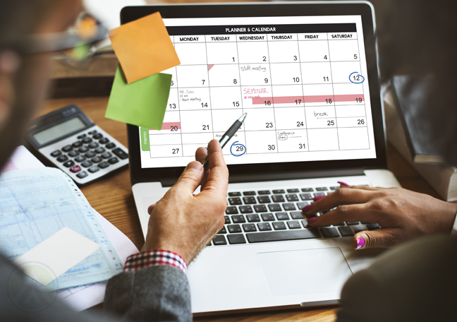 business checking schedule in computer calendar app software