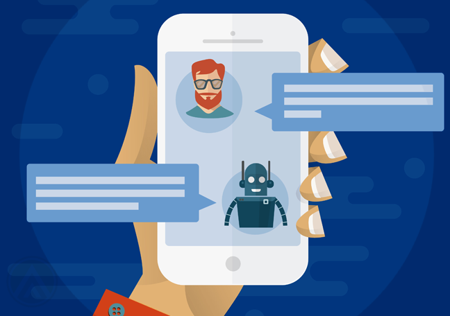 hand holding smartphone screen showing chat window robot