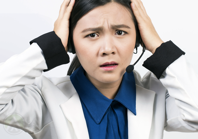 panicking customer service reps with stressed headache