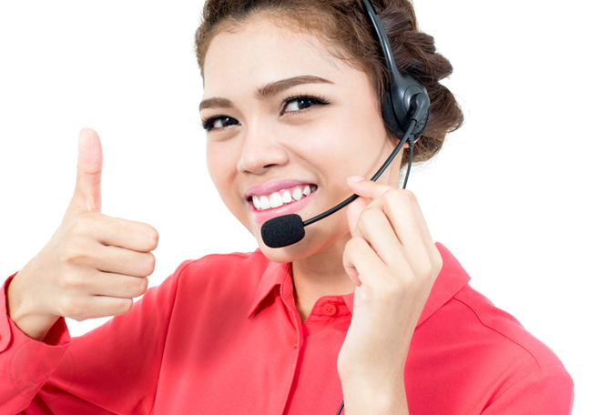 smiling call center agent giving thumbs up