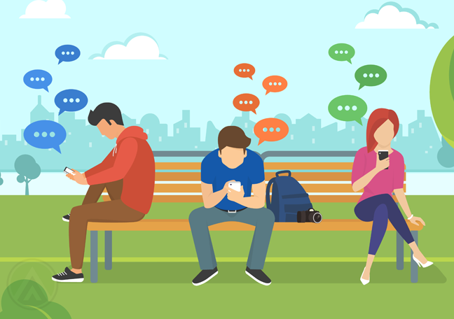 young people using smartphones with messenger icons outdoors