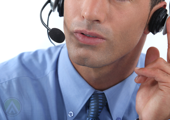 close up customer service agent asking the right question over the phone