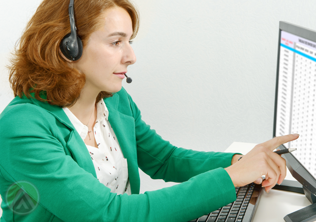 customer support agent looking through office records on laptop screen