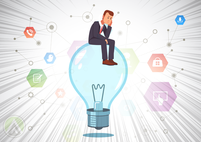 thinking businessman sitting on light bulb
