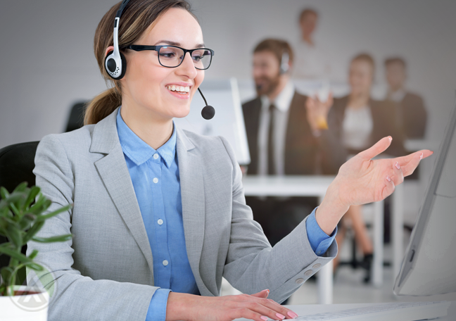 customer service agent speaking on the phone attending to customer