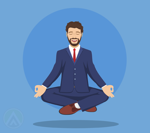 floating businessman chanting mantra