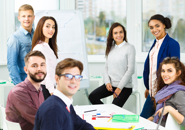 young office employees in meeting