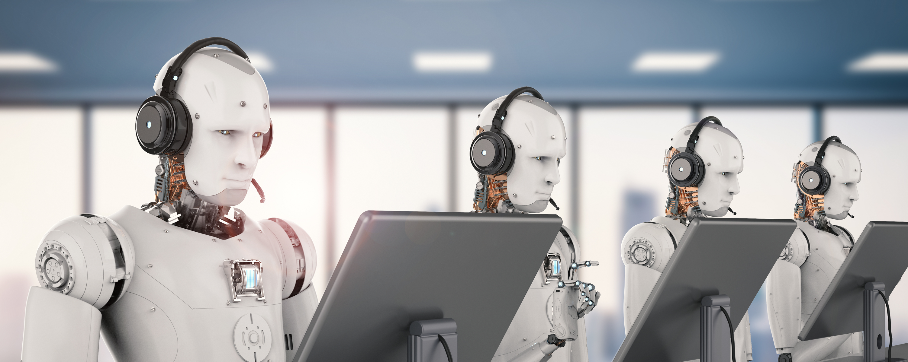 robotic customer care agents working in a call center- Open Access BPO